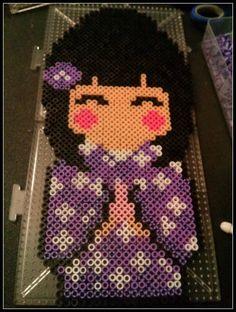 Kawaii Kimono Girl perler beads by gwennimarie