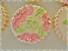 close up of 50th birthday cookie