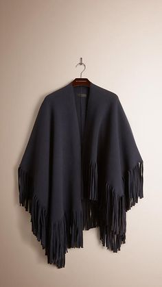 Burberry Navy Fringed Felted Wool Cashmere Poncho - A poncho in felted wool and cashmere, woven with elastane for a refined drape. Discover more accessories at Burberry.com
