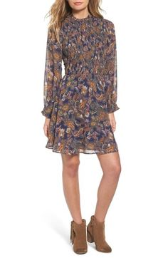 Sun & Shadow Paisley Smocked Dress available at #Nordstrom
