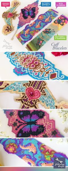 Peyote | Brick Stitch | 2-Drop Peyote Patterns by Glitterbugg Designs - make your own bracelet cuff patterns with style and colour!