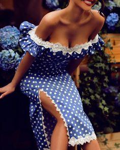boutiquefeel / Off Shoulder Dots Print Lace Trim Slit Dress Curvy Fashion, Plus Size Fashion, Moda Chic, Slit Dress, Bodycon Dress, Two Piece Dress, Fashion Outfits, Womens Fashion, Dress Fashion