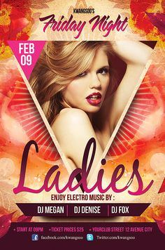 Ladies Night Nightclub Flyer Template Download .PSD Editable File Here : http://graphicriver.net/item/ladies-night-party-flyer-template/1063272?ref=kwangsoo