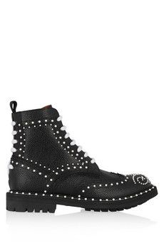 Givenchy Ankle boots in faux pearl-embellished black textured-leather | NET-A-PORTER