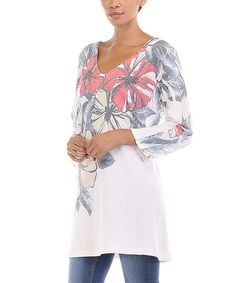Look what I found on #zulily! White Floral Scoop Neck Sweater - Women #zulilyfinds