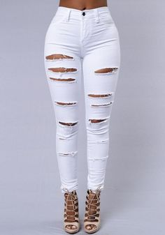 a86058b5617 Beggar Ripped Street Straight Elastic Slim Plus Size Jeans. White High  Waisted JeansWhite Ripped JeansWhite TrousersRipped Jeans For WomenJeans ...