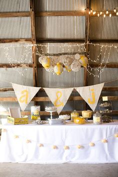 Bunting, flowers and twine globes