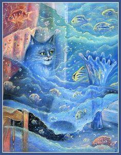 Fantasy egy macska az ablak közelében, a kék váza by Svetlana Krotova