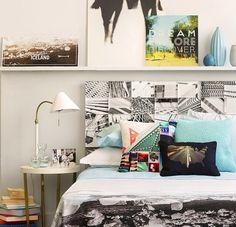 Long shelf above bed