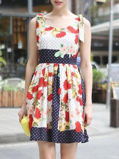Multicolor Round Neck Sleeveless Floral Print Dress 35.01