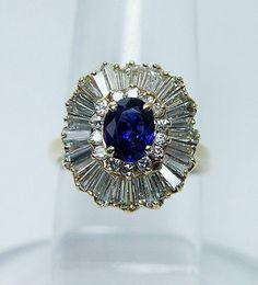 Sapphire 1.75ct Baguette Diamond Ballerina Ring 14K Gold Estate Jewelry