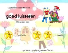 Kritische luisteren Thema Kabouter Plop Smart Board Lessons, Pre School, Grade 1, Letters, Education, Net, Spelling, Carnival, Pixies