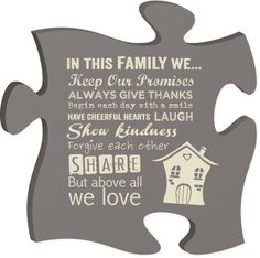 Puzzle Family Sign.  Item #PUF0037  Available at Impulse Gifts 812.481.2880 We ship daily.   https://www.facebook.com/ImpulseJasper