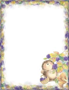 Hedge Hog with Berries Free Printable Stationery, Printable Paper, Hedgehog Craft, Page Borders Design, Borders For Paper, Frame Clipart, Paper Frames, Note Paper, Writing Paper