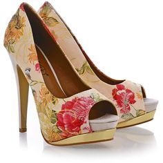TIMELESS GEISHA Beige Floral Peep Toes (84 AUD) ❤ liked on Polyvore featuring shoes, pumps, heels, sapatos, zapatos, high heel platform shoes, high heel shoes, slip on shoes, beige platform pumps and slip-on shoes