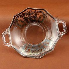 Silver Overlay Decagon Handled Bon Bon Bowl New Martinsville Glass Vtg
