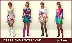 Robe et bottes « Kim ». Les Sims 4 contenu personnalisé. ~ pqSim4