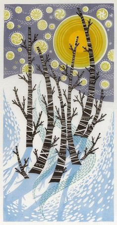 Snow Birches - lino cut print by artist Angie Lewin
