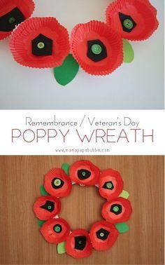 Remembrance / Veteran's Day Poppy Wreath | Mama.Papa.Bubba.