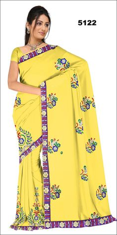 Shop SIXMETER #Casual Wear Yellow Silk Saree at 99trendz.com. This is a perfect addition to every women's #Sarees Collection.