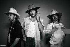 Jess Carson, Mark Wystrach, and Cameron Duddy of Midland pose in the portrait studio at the 2018 CMA Music Festival at Nissan Stadium on June 2018 in Nashville, Tennessee. Get premium, high resolution news photos at Getty Images Midland Country Band, Midland Band, Cameron Duddy, Nissan Stadium, Cma Music Festival, Studio Portraits, Nashville, Poses, Rock Stars