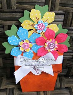 Flower Pot Card by Wendy Lee, #creativeleeyours, Stampin' Up!, April 2015 FMN class Tutorial on my blog