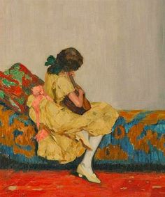 A girl with a guitar  -  Max Westfeld  1913German  1882-1971  oil on canvas 70,4 x 64,3 cm.