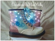 Excited to share the latest addition to my #etsy shop: Cinderella carriage inspired light up Dr Martens style ankle lace up military boots http://etsy.me/2CKkuoR