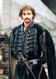 """Aleksandr Domogarov in """"Ogniem i Mieczem"""" as Cossack Colonel Bohun."""