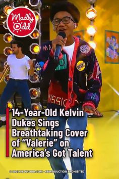 """It's not easy to sing a cover of a music legend like Amy Winehouse. When 14-year-old Kelvin Dukes appears on America's Got Talent for the quarter-finals, he pulls out all the stops for his rendition of """"Valerie."""" #Teenagers #AmericasGotTalent #AmyWinehouse America's Got Talent Videos, Live Band, 14 Year Old, Amy Winehouse, Hit Songs, Dance Moves, Universal Studios, Looking Back, Teenagers"""