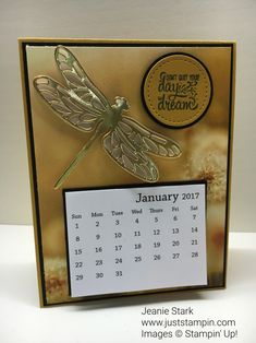 Calendar cards using Stampin' Up! Dragonfly Dreams Thinlits Dies and Serene Scenery DSP. www.juststampin.com