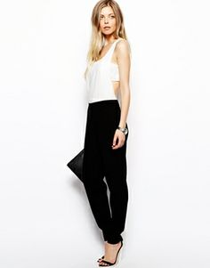 Jumpsuit in Monochrome with Bandeau Detail