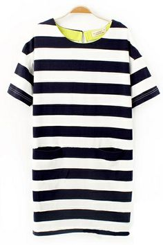 Stripe Shift Dress With Pockets