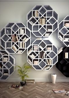 Beautiful Geometric Bookcases