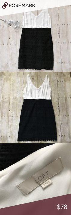 "Beautiful lace detail dress. NWOT Never worn, classic dress. Beautiful off white colored top with black lace detail bottom. Zip up back. Size 8. Measurements lying flat: armpit to armpit 18.5"" and length from top of strap about 37 inches.  Not much stretch. ❌ No trades or off Poshmark transactions.   👌🏻Quick shipping.   💁🏻Offers welcome through ""Make an Offer"" feature.   👗👠 Bundle discount.   ❔ Feel free to ask any questions. LOFT Dresses"