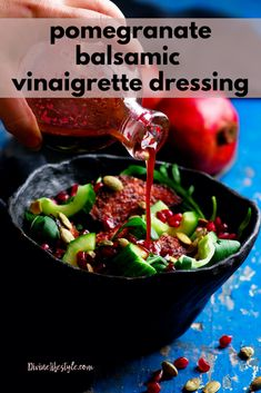 This Pomegranate Balsamic Vinaigrette Dressing makes an amazing marinade for steaks and chicken. Of course use it to top your favorite salad and more. Pomegranate Molasses Dressing, Pomegranate Vinaigrette, Balsamic Vinaigrette Recipe, Pomegranate Sauce, Pomegranate Recipes Salad Dressing, Roast Chicken And Gravy, Vinaigrette Dressing, Dressing Recipe, Roast Brisket