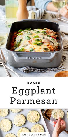 Eggplant Parmesan Recipe Love and Lemons This baked eggplant Parmesan recipe is one of our favorite family dinners! Crispy breaded eggplant slices are layered with marinara sauce melty fresh mozzarella and herbs to make a delicious hearty dinner! Vegetable Recipes, Vegetarian Recipes, Cooking Recipes, Healthy Recipes, Zoodle Recipes, Fodmap Recipes, Vegetarian Dinners, Clean Recipes, Healthy Meals