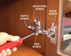 Kitchen Cabinets: 9 Easy Repairs: Are you bugged by kitchen cabinets that don& work quite right? Broken latches, loose door hinges, sticking drawers& they driving you bonkers? Read on for easy fixes to these and other common cabinet problems. Kitchen Door Knobs, Kitchen Cabinet Drawers, Kitchen Cabinet Remodel, Kitchen Cabinet Hardware, Kitchen Cupboards, Hinges For Cabinets, Door Hinges, Pine Cabinets, Woodworking Tools