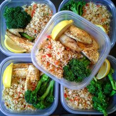 Brown rice with red peppers and green onions sauteed in some coconut oil, baked spicy tilapia and broccoli