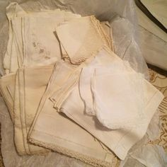 This listing is for 30 vintage handkerchiefs in different shades of ivory and white. Selling them as a set. Will not split up.