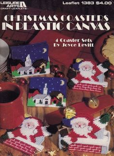 Christmas Coasters, Leisure Arts Holiday Home Decor Plastic Canvas Pattern Booklet 1383
