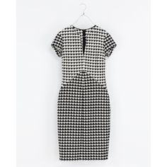 Zara Houndstooth Check Dress (5,345 INR) ❤ liked on Polyvore featuring dresses, hounds tooth dress, line dress, black houndstooth dress, kohl dresses and zara dresses