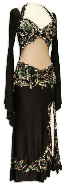 ULLK Belly Dance Performance costume suit costume gold silver piece bead embroidered double open fork skirt dance Dress