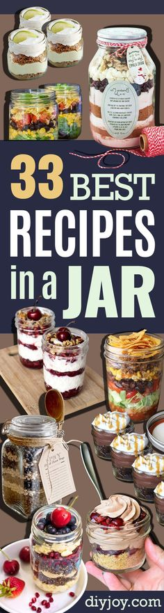 Best Recipes in A Jar - DIY Mason Jar Gifts, Cookie Recipes and Desserts, Canning Ideas, Overnight Oatmeal, How To Make Mason Jar Salad. Mason Jar Lunch, Mason Jar Desserts, Mason Jar Meals, Mason Jar Gifts, Meals In A Jar, Mason Jars, Gift Jars, Mason Jar Recipes, Mason Jar Breakfast