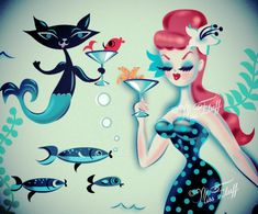 Mermaid having a martini with her Merkitty friend. Art by Miss Fluff (Claudette Barjoud) of http://www.fluffshop.com #vintagemermaid #retromermaid #mermaids #mermaid #retro #vintage