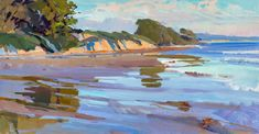 Marcia Burtt, Goleta Beach King Tide, acrylic, 17 x 34.
