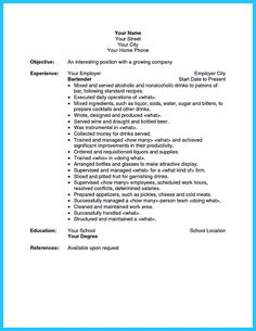 cool everything you must put onto your impressive bartenders resume