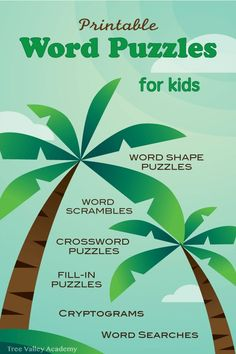 Free printable word puzzles for kids.  Download and print themed word searches, crossword puzzles, fill-in puzzles, word scrambles, cryptograms or word shape puzzles.  Word puzzles are a fun and educational activity for kids during the summer months. Fill In Puzzles, Word Puzzles For Kids, Mazes For Kids, Shape Puzzles, Printable Crossword Puzzles, Printable Puzzles For Kids, Free Printables, Preschool Activities At Home, Educational Activities For Kids