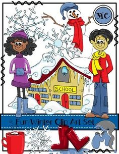 Spruce up your TPT products, newsletters, and printables, with this fun winter clip art set. The set contains all the clip art drawings you see on the cover page. Each clip art drawing is saved individually as a PNG and JPEG file. The set includes 1 boy, 1 girl, 3 snowflakes saved individually,1 hat and mittens ,1 snowman, 1 hot chocolate, 1snowy school house,  and 1 pair of boots.