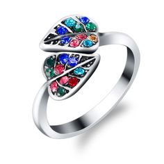 2017 Europe And America Fashion Jewelry Retro Silver Plated Leaf Shape Women Rings Multicolor Crystal Black Green